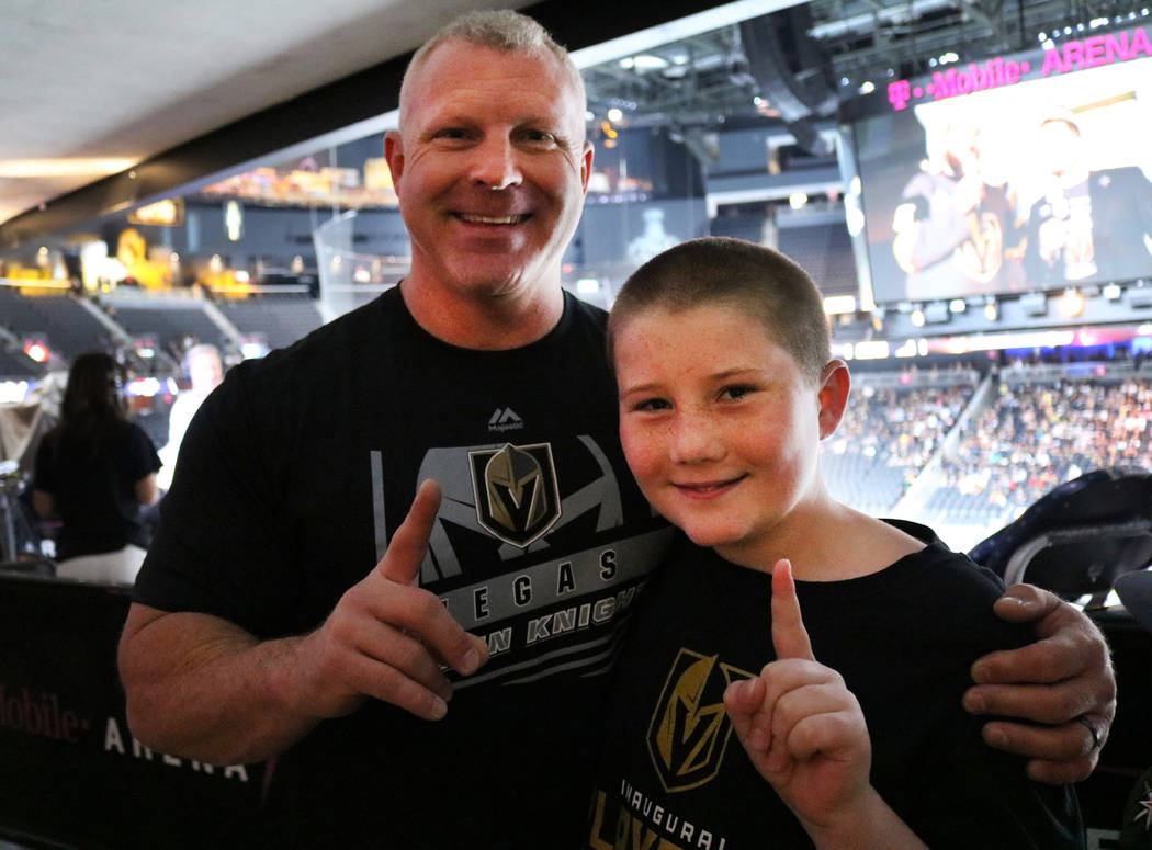 Darrell Garvin, left, and his son Gage Garvin, right, at the Vegas Golden Knights watch party at T Mobile Arena in Las Vegas, Monday, June 4, 2018. Madelyn Reese/Las Vegas Review-Journal