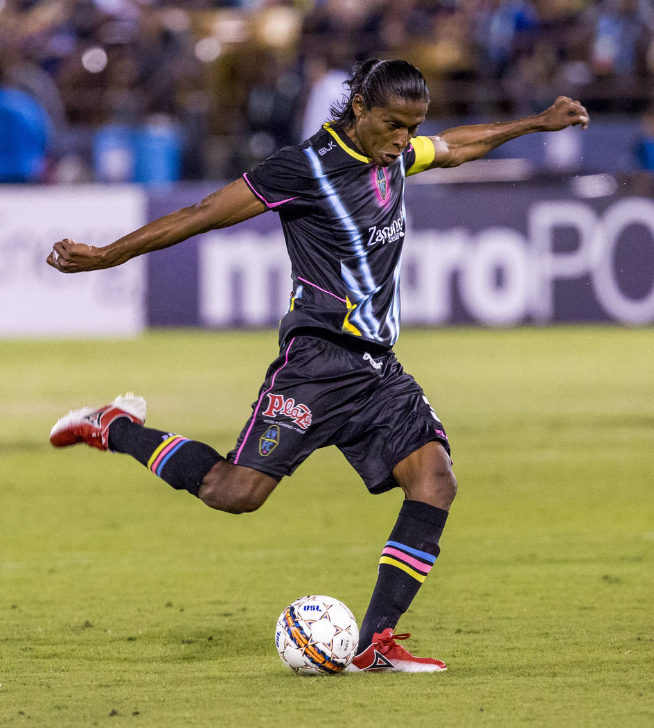 Lights defender Joel Huiqui kicks the ball during the first half of a game against the Swope Park Rangers at Cashman Field in Las Vegas on Saturday, March 31, 2018. Patrick Connolly Las Vegas Rev ...