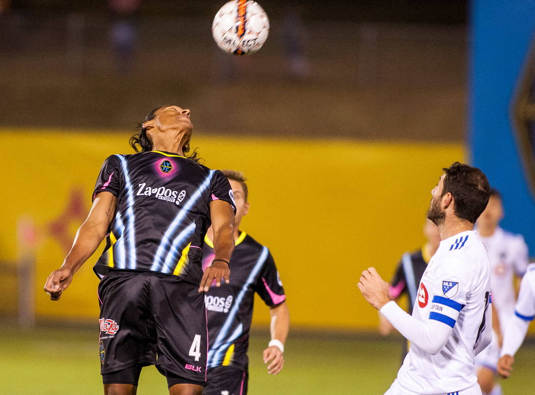 Las Vegas Lights' Joel Huiqui head butts the ball while playing against Montreal Impact during the first Las Vegas Lights FC game at Cashman Field in Las Vegas on Saturday, Feb. 10, 2018. Patrick ...