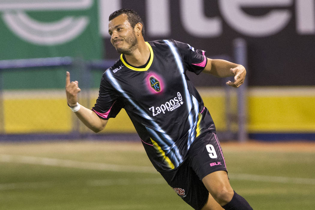 Las Vegas Lights FC forward Sammy Ochoa (9) celebrates after scoring against the Seattle Sounders FC 2 during the first half of a United Soccer League match at Cashman Field in downtown Las Vegas ...