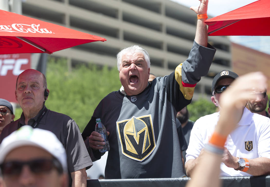 Clark County Commission Chairman and Nevada Gubernatorial candidate Steve Sisolak reacts to a play during a watch party for Game 5 of the Western Conference Finals between the Golden Knights and t ...