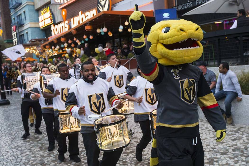 Golden Knights mascot Chance participates in a pregame parade at The Park outside of the New York-New York before an NHL hockey game against the San Jose Sharks in Las Vegas on Saturday, March 31, ...