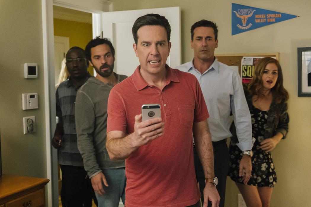 "Photo Credit: Kyle Kaplan Caption: HANNIBAL BURESS as Kevin Sable, JAKE JOHNSON as Randy ""Chilli"" Cilliano, ED HELMS as Hogan ""Hoagie"" Malloy, JON HAMM as Bob Callahan and ISL ..."