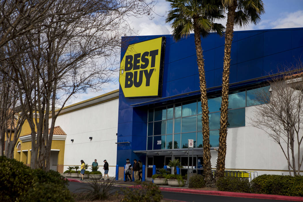 Shoppers walk near Best Buy at Best in the West, a strip mall on North Rainbow Road in Las Vegas, on Tuesday, Feb. 13, 2018. The mall recently sold for $87 million. Patrick Connolly Las Vegas Rev ...