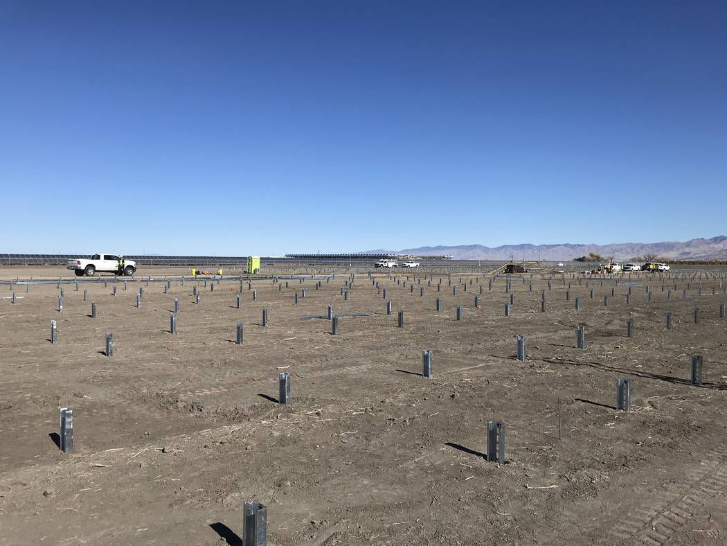 A photo taken November shows construction of a 20 megawatt solar array near Fallon that will deliver power to the new Wynn Paradise Park development in Las Vegas. Wynn Resorts