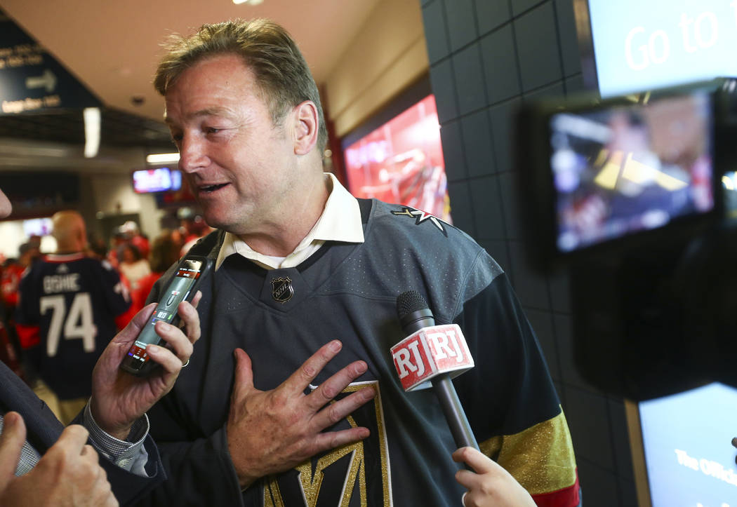 U.S. Sen. Dean Heller, R-Nev., is interviewed before the start of Game 4 of the Stanley Cup Final at Capital One Arena in Washington on Monday, June 4, 2018. Chase Stevens Las Vegas Review-Journal ...