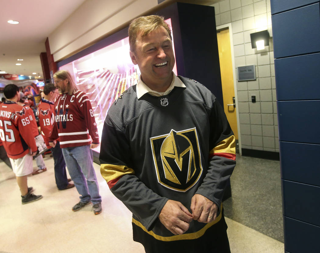 U.S. Sen. Dean Heller, R-Nev., before the start of Game 4 of the Stanley Cup Final at Capital One Arena in Washington on Monday, June 4, 2018. Chase Stevens Las Vegas Review-Journal @csstevensphoto