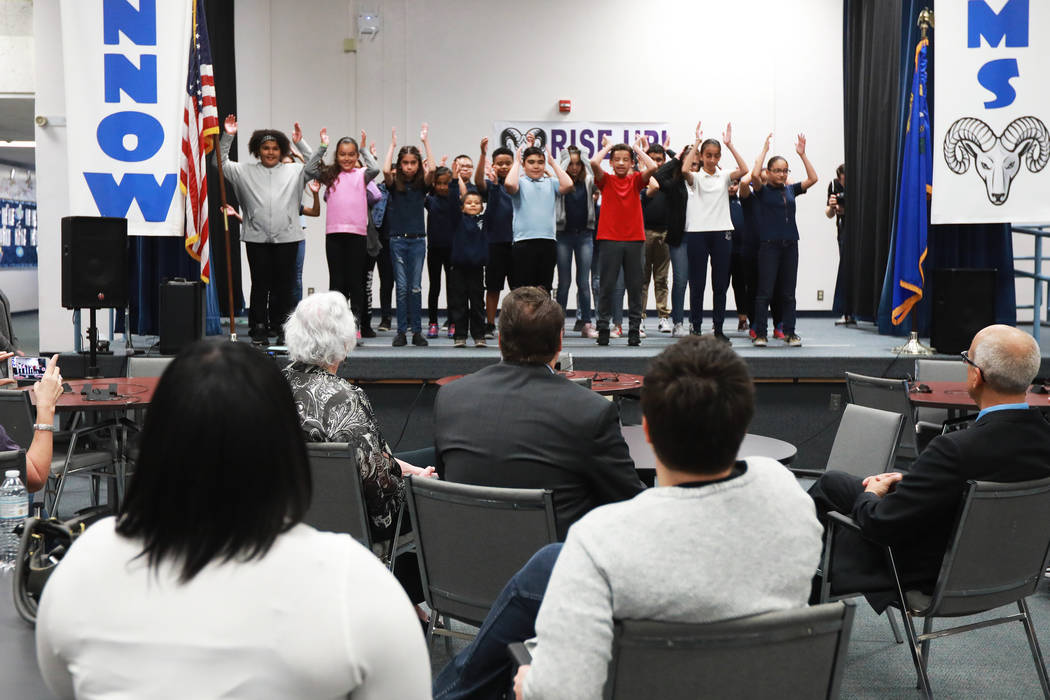 Students perform for superintendent Pat Skorkowsky, who is retiring, during his surprise party at C.C. Ronnow Elementary School in Las Vegas on Friday, May 4, 2018. Andrea Cornejo Las Vegas Review ...