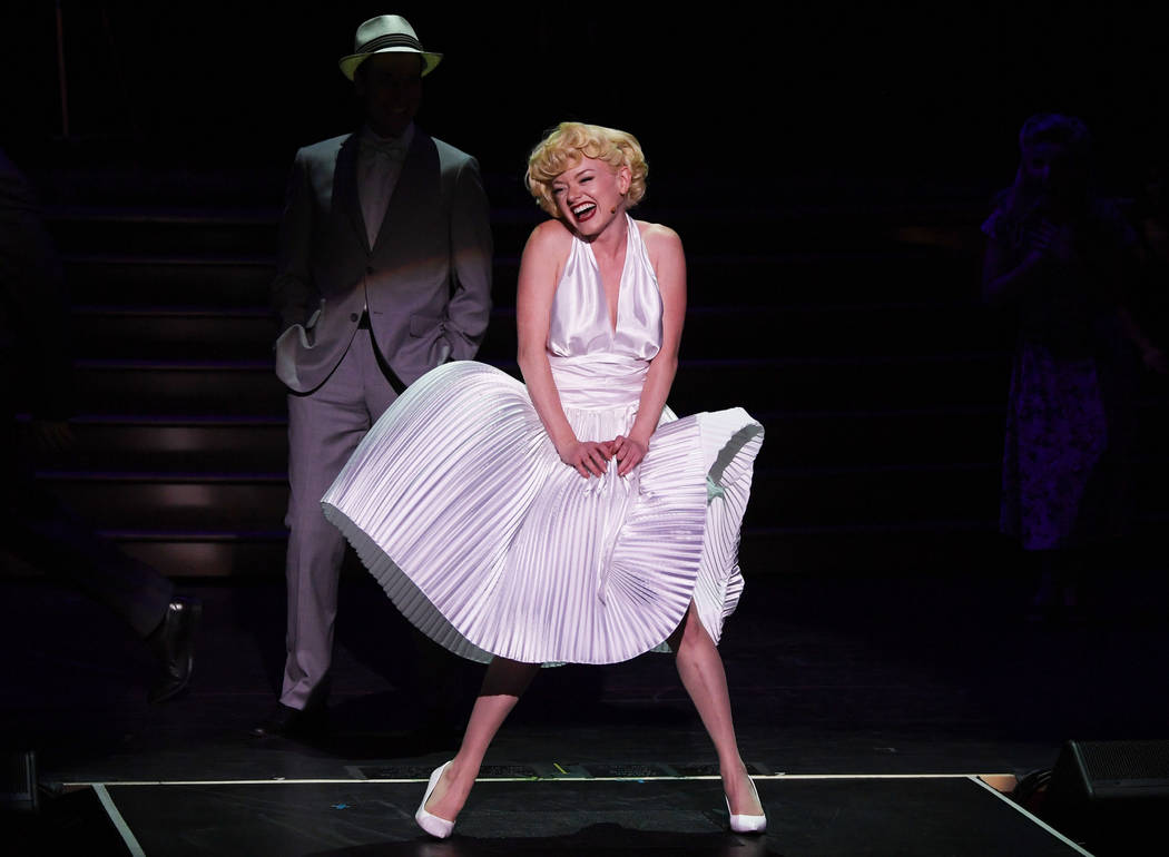 "Denise Truscello Ruby Lewis, as Marilyn Monroe, re-creates an iconic moment from ""The Seven-Year Itch"" in the new musical ""Marilyn! at Paris Las Vegas."