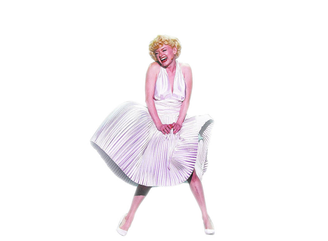"Ruby Lewis, as Marilyn Monroe, re-creates an iconic moment from ""The Seven-Year Itch"" in the new musical ""Marilyn! at Paris Las Vegas."