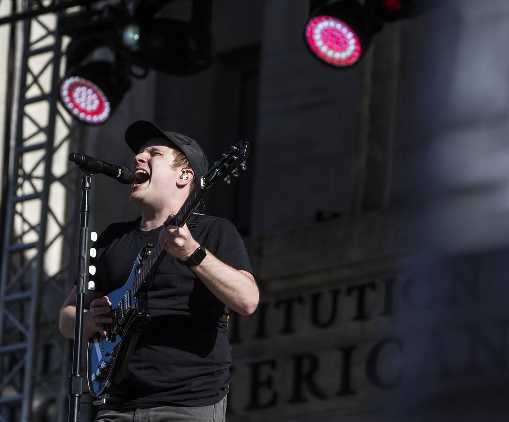 Fall Out Boy's Patrick Stump performs outside Capital One Arena before the start of Game 4 of the NHL Stanley Cup Final between the Golden Knights and Washington Capitals on Monday, June 4, 2018, ...