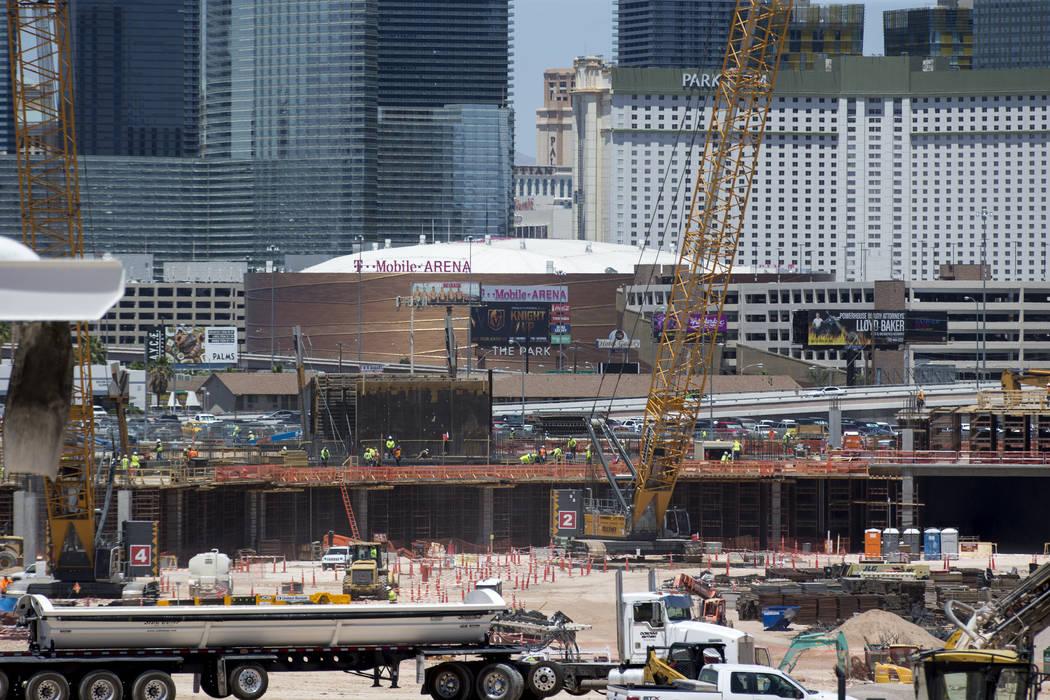 Construction continues at Las Vegas Stadium on Monday, June 4, 2018. Richard Brian Las Vegas Review-Journal @vegasphotograph