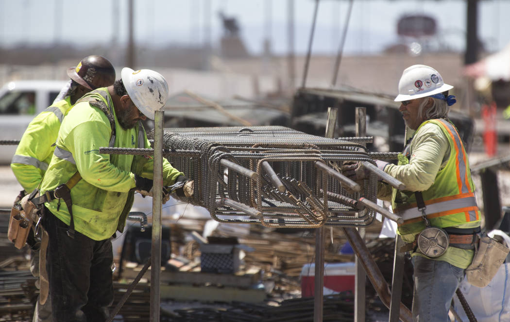 Workers assemble rebar columns as construction continues at Las Vegas Stadium on Thursday, May 31, 2018. Richard Brian Las Vegas Review-Journal @vegasphotograph