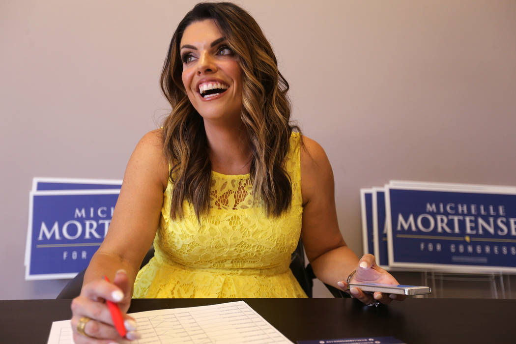 Michelle Mortensen, a Republican candidate for Nevada's 3rd Congressional District, makes calls to supporters at her Las Vegas campaign office Tuesday, June 5, 2018. K.M. Cannon Las Vegas Review-J ...