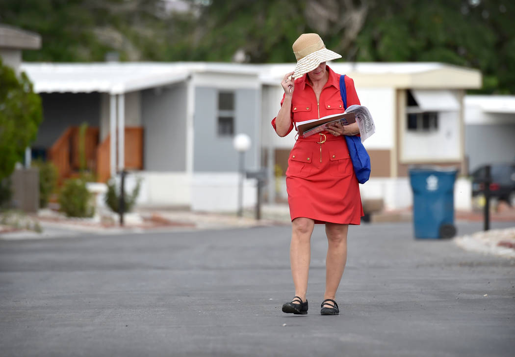 Clark County Commissioner and Nevada Governor candidate Chris Giunchigliani canvases potential voters at the Riviera Mobile Home Park Tuesday, June 5, 2018, in Las Vegas. David Becker/Las Vegas Re ...