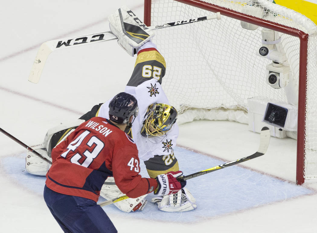 Capitals right wing Tom Wilson (43) scores a first-period goal against Golden Knights goaltender Marc-Andre Fleury (29) during Game 4 of the NHL Stanley Cup Final on Monday, June 4, 2018, at Capi ...