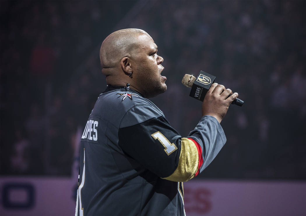 Carnell Johnson, AKA Golden Pipes, performs the national anthem before the start of the NHL Western Conference Finals between the Golden Knights and Winnipeg Jets on Friday, May 18, 2018, at T-Mob ...
