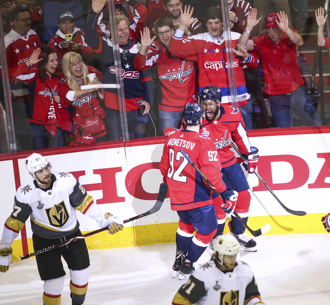 during the first period of Game 4 of the Stanley Cup Final at Capital One Arena in Washington on Monday, June 4, 2018. Chase Stevens Las Vegas Review-Journal @csstevensphoto
