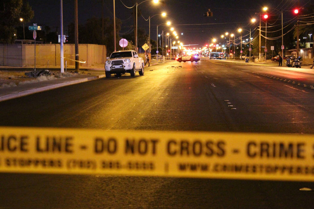 Police investigate a fatal crash at the intersection of Nellis Boulevard and Sun Valley Drive on Monday, June 4, 2018. (Max Michor/Las Vegas Review-Journal)