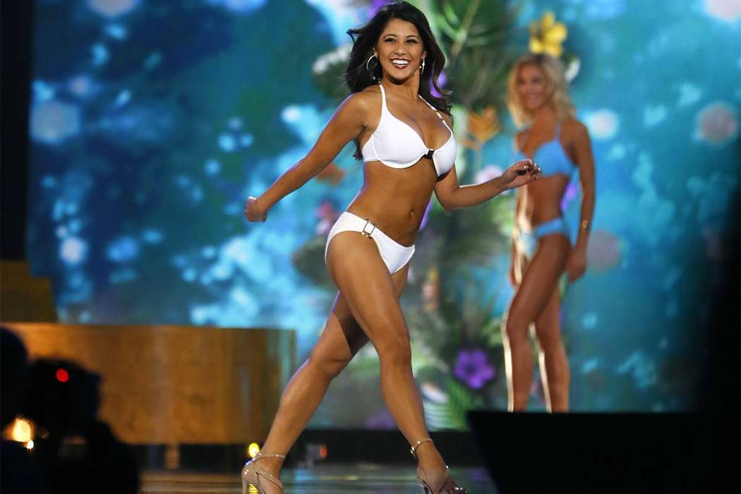 Miss California Jessa Carmack during swimsuit competition at Miss America 2017 pageant, Sunday, Sept. 11, 2016, in Atlantic City, N.J. (Noah K. Murray/AP)