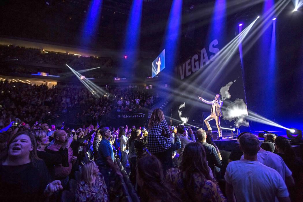 Imagine Dragons frontman Dan Reynolds performs during the Vegas Strong Benefit Concert at T-Mobile Arena on Friday, Dec. 1, 2017, in Las Vegas. (Benjamin Hager/Las Vegas Review-Journal)@benjaminhphoto