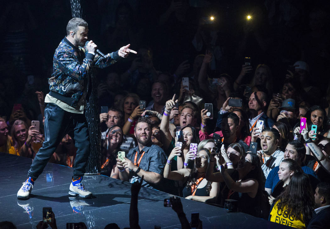 Justin Timberlake performs at T-Mobile Arena in Las Vegas on Saturday, April 14, 2018. Chase Stevens Las Vegas Review-Journal @csstevensphoto