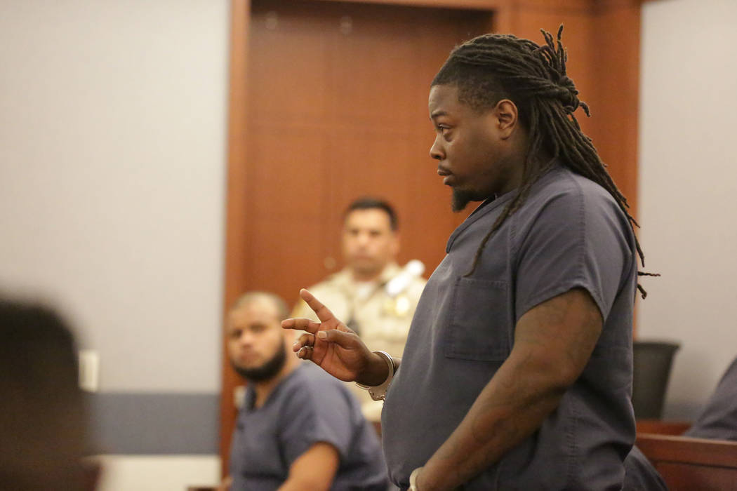 Michael Logan, who faces child abuse and other charges in the death of his 2-year-old son, attempted to address the court during his bail hearing on Tuesday, June 5, 2018. (Michael Quine/Las Vegas ...