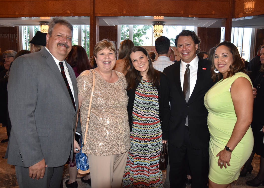 Jason Wright (far left) and his wife, CCSD Board president Deanna Wright (second from left) at a function with Superintendent Pat Skorkowsky (second from right). (Flickr)