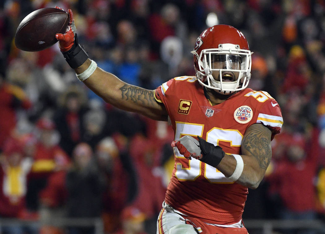 FILE - In this Saturday, Jan. 6, 2018, file photo, Kansas City Chiefs linebacker Derrick Johnson (56) celebrates what he thought was a touchdown on a Tennessee Titans fumble during the second half ...