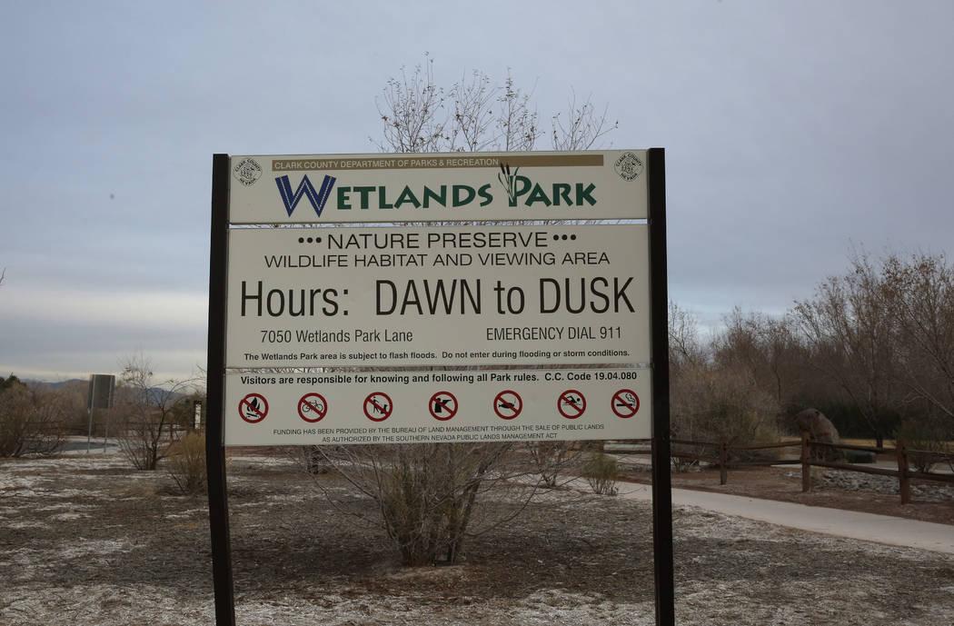 The Clark County Wetlands Park sign is seen at 7050 Wetlands Park Lane, on Wednesday, Feb. 21, 2018, in Las Vegas. Bizuayehu Tesfaye/Las Vegas Review-Journal @bizutesfaye