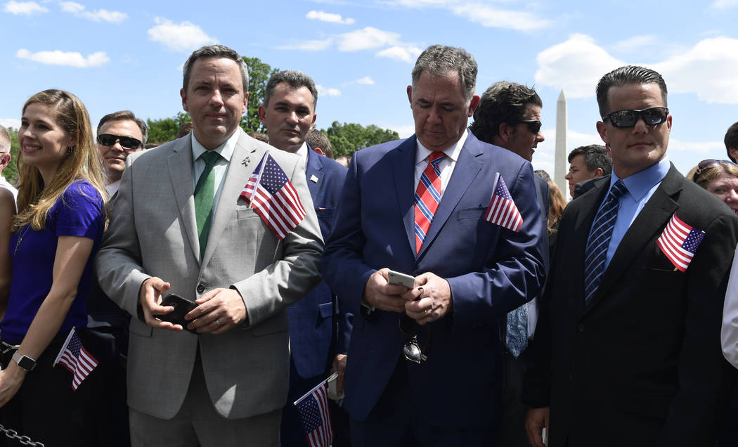 """Guests wait for the start of a """"Celebration of America"""" event at the White House, Tuesday, June 5, 2018, in Washington, in lieu of a Super Bowl celebration for the NFL's Philadelphia Eag ..."""