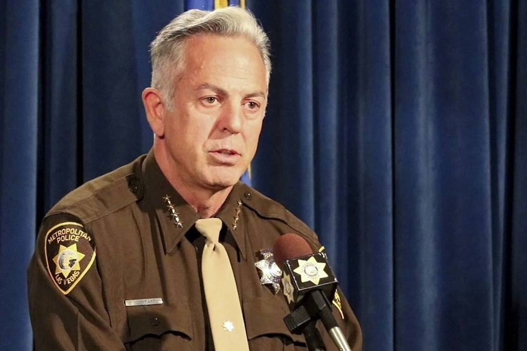 Clark County Sheriff Joe Lombardo briefs the media about the release of audio and video records from the Oct. 1 shooting on the Strip at Metropolitan Police Department Headquarters in Las Vegas, T ...