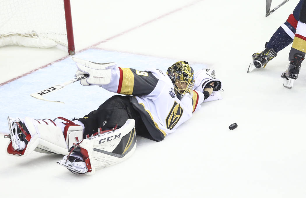 Golden Knights goaltender Marc-Andre Fleury (29) blocks a shot from the Washington Capitals during the third period of Game 4 of the Stanley Cup Final at Capital One Arena in Washington on Monday, ...