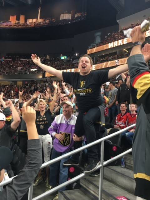 """Cameron Hughes, """"The Igniter,"""" riles up the home crowd at T-Mobile Arena in Las Vegas. (The Fine Agency)"""