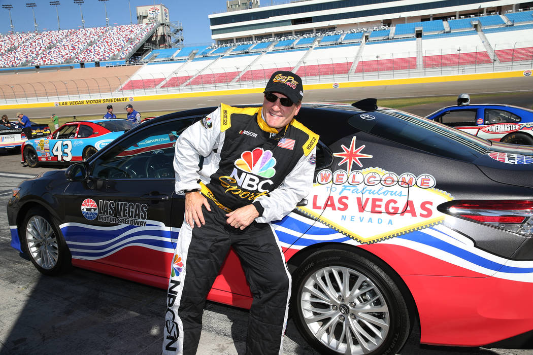 Former hockey star Jeremy Roenick gets ready to drive hot laps at the Las Vegas Motor Speedway in Las Vegas, Wednesday, June 6, 2018. Erik Verduzco Las Vegas Review-Journal @Erik_Verduzco