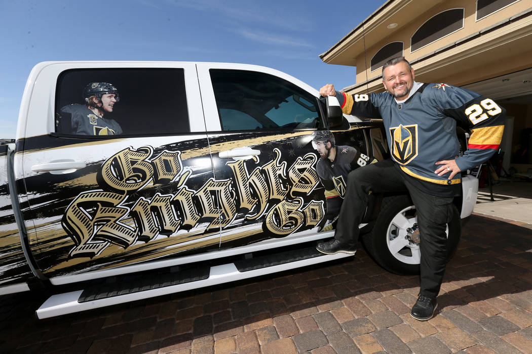 Lynn Groesbeck shows his custom Vegas Golden Knights truck at his Las Vegas home Tuesday, June 5, 2018. K.M. Cannon Las Vegas Review-Journal @KMCannonPhoto