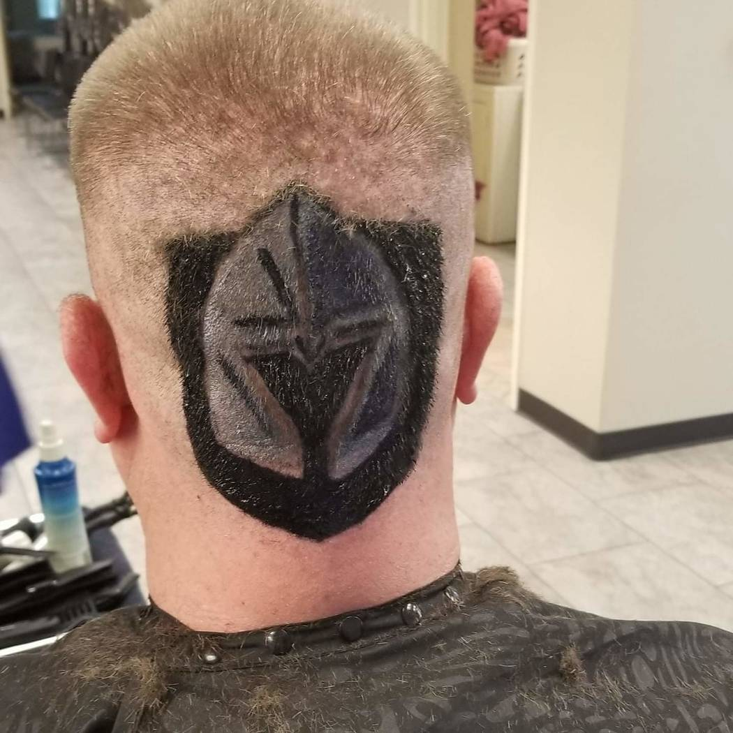 Vegas Golden Knights superfan Michael Long roots on the team by dying his hair.