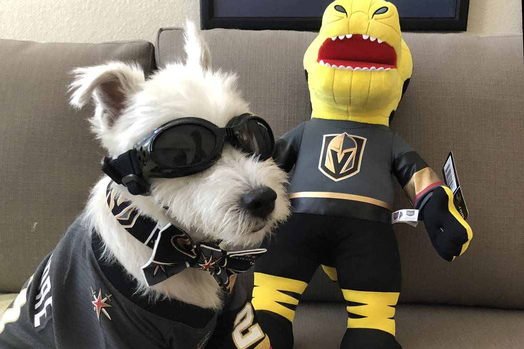 Vegas Golden Knights superfan Bark-Andr Furry poses with his Chance Mascot plush doll.