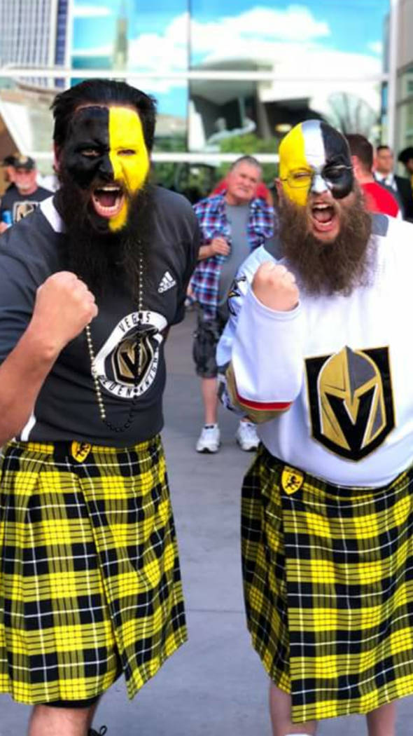 Vegas Golden Knights superfans also have beards and wear kilts.