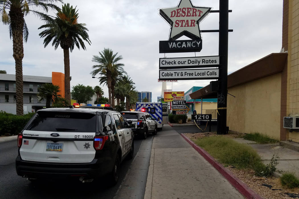 Las Vegas police investigate a body found at the Desert Star Motel, 1210 Las Vegas Blvd. South on Tuesday, June 5, 2018. (Mike Shoro/Las Vegas Review-Journal)
