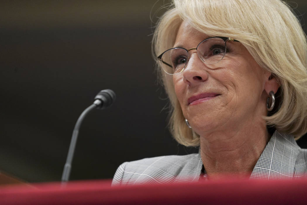 Education Secretary Betsy DeVos pauses as she testifies during a Senate Subcommittee on Labor, Health and Human Services, Education, and Related Agencies Appropriations hearing to review the Fisca ...