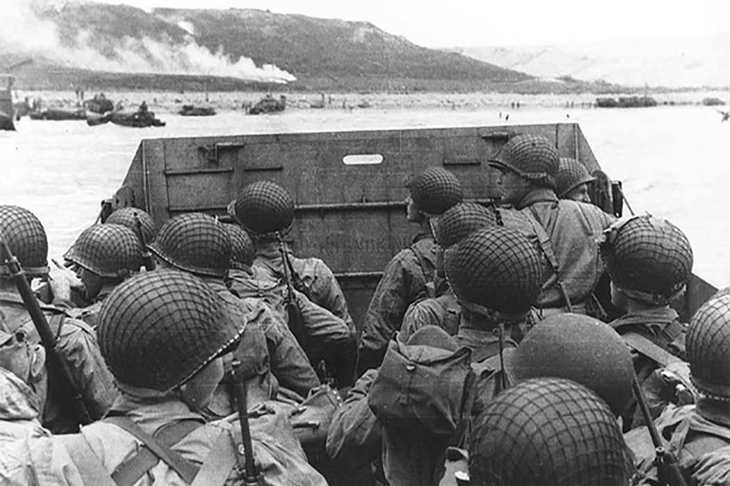 Troops approach Omaha Beach on June 6, 1944. (Courtesy)