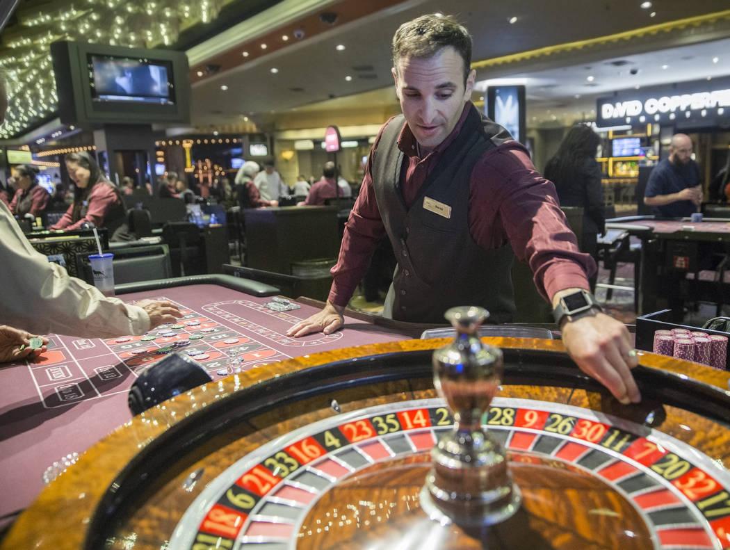 Roulette dealer Derek Hoffman places bets at the MGM Grand hotel-casino on Thursday, April 19, 2018, in Las Vegas. Benjamin Hager Las Vegas Review-Journal @benjaminhphoto