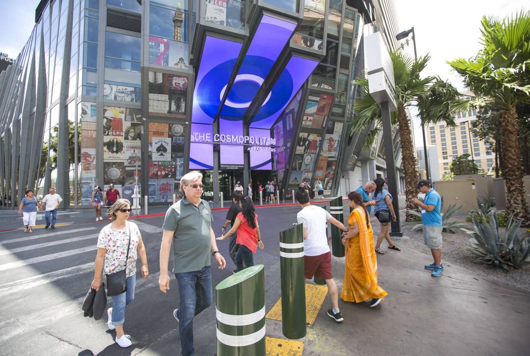 People walk outside The Cosmopolitan of Las Vegas on the Strip on Thursday, May 31, 2018. Richard Brian Las Vegas Review-Journal @vegasphotograph
