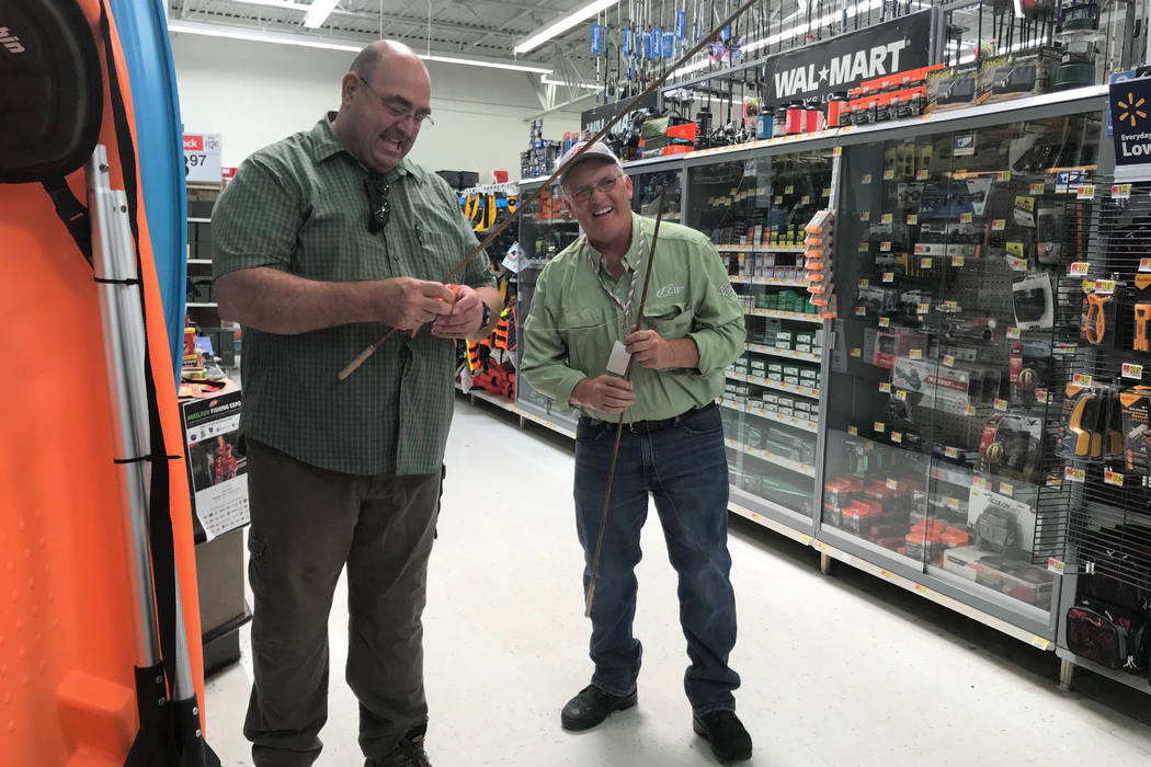Pro angler Gregg Brown, right, of Henderson, and Doug Nielsen compare fishing notes during a #ReelFun event for National Fishing and Boating Week June 2-10. (Doug Nielsen)