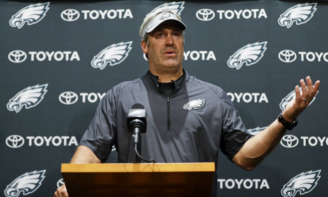 Philadelphia Eagles head coach Doug Pederson speaks to the media before practice at the NFL football team's facility, Wednesday, June 6, 2018, in Philadelphia. (AP Photo/Matt Slocum)