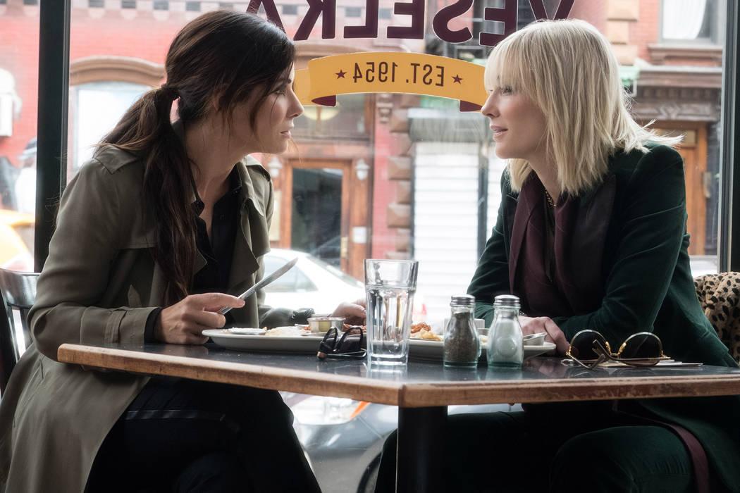 "SANDRA BULLOCK as Debbie Ocean and CATE BLANCHETT as Lou in Warner Bros. Pictures' and Village Roadshow Pictures' ""OCEANS 8,"" a Warner Bros. Pictures release. © 2018 WARNER BROS. ENTERTAINMENT IN ..."