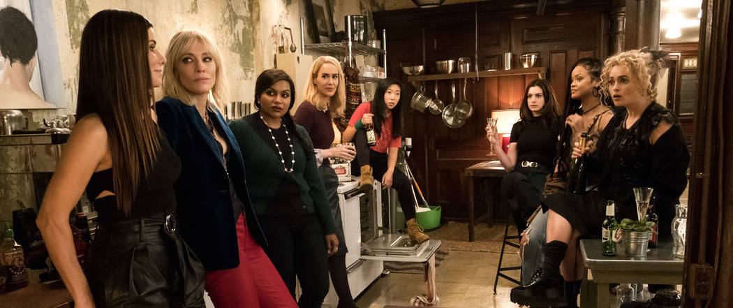 Caption: (L-R) SANDRA BULLOCK as Debbie Ocean, CATE BLANCHETT as Lou, MINDY KALING as Amita, SARAH PAULSON as Tammy, AWKWAFINA as Constance, ANNE HATHAWAY as Daphne Kluger, RIHANNA as Nine Ball an ...