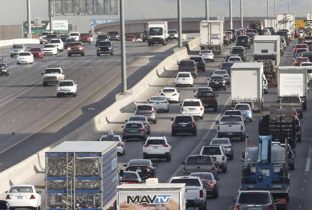 Traffic backs up in the northbound lanes of Interstate 15, near Sahara Avenue Exit in Las Vegas on Thursday, March 8, 2018. (Bizuayehu Tesfaye/Las Vegas Review-Journal) @bizutesfaye