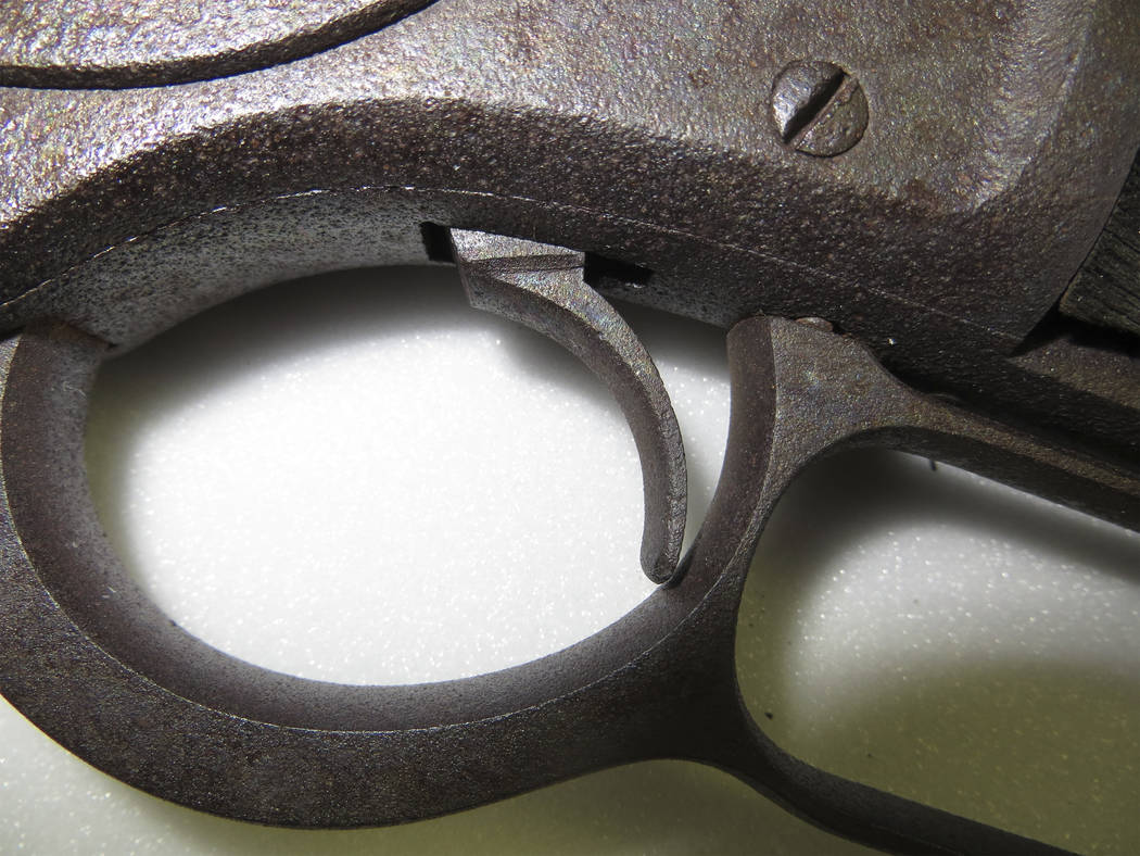 Detail of the trigger on the almost 133-year-old Winchester rifle found leaning against a tree in Great Basin National Park in 2014. The rifle will go on permanent display in the park as part of a ...
